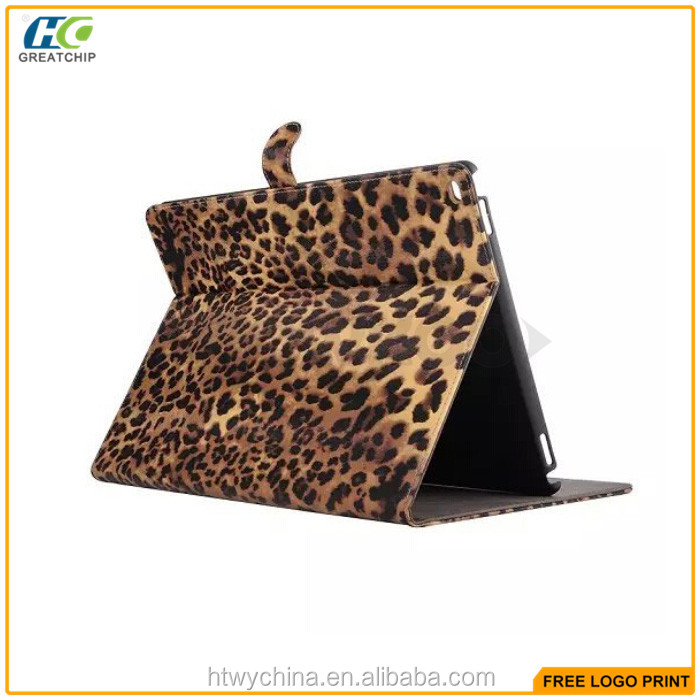 2015 New arrival Sexy Leopard PU leather Case for iPad Pro,Best selling Tablet stand leather Case cover for iPad Pro