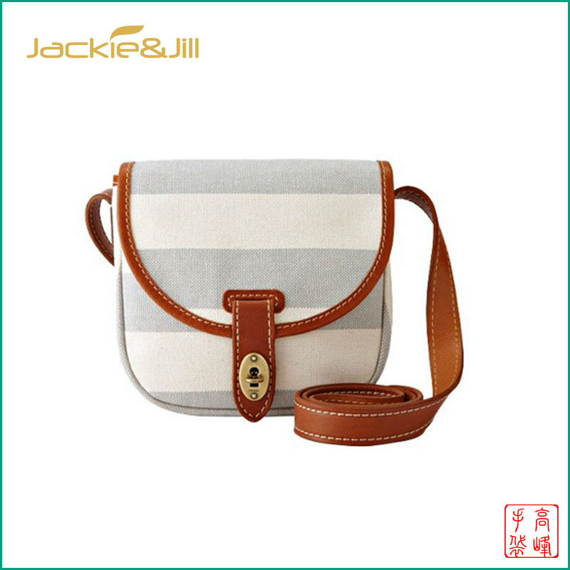 GF-B121 Women Small Striped Canvas Side Messenger Bag with Leather Trim