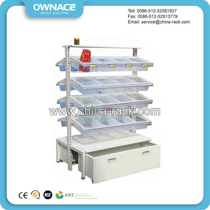 Popular Mutilayer Metal Snack Rack Candy Display Shelving Units