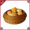 S&D Green environmental protected pe rattan wicker bread basket snacks dry fruit basket with net cover