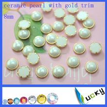 Hotfix flat back half round pearl ceramic beads with gold trim