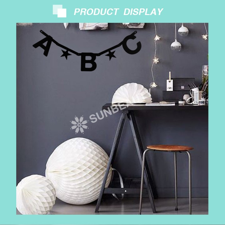 Wholesale Black DIY Letter Banner Hanging Decorations Paper Buntings Birthday Party Decor Sunbeauty