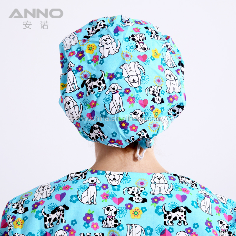 Cartoon printed Cotton medical Doctor Nurse Scrub Cap