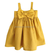 Custom Big Bow Dress, Mustard Yellow baby dress