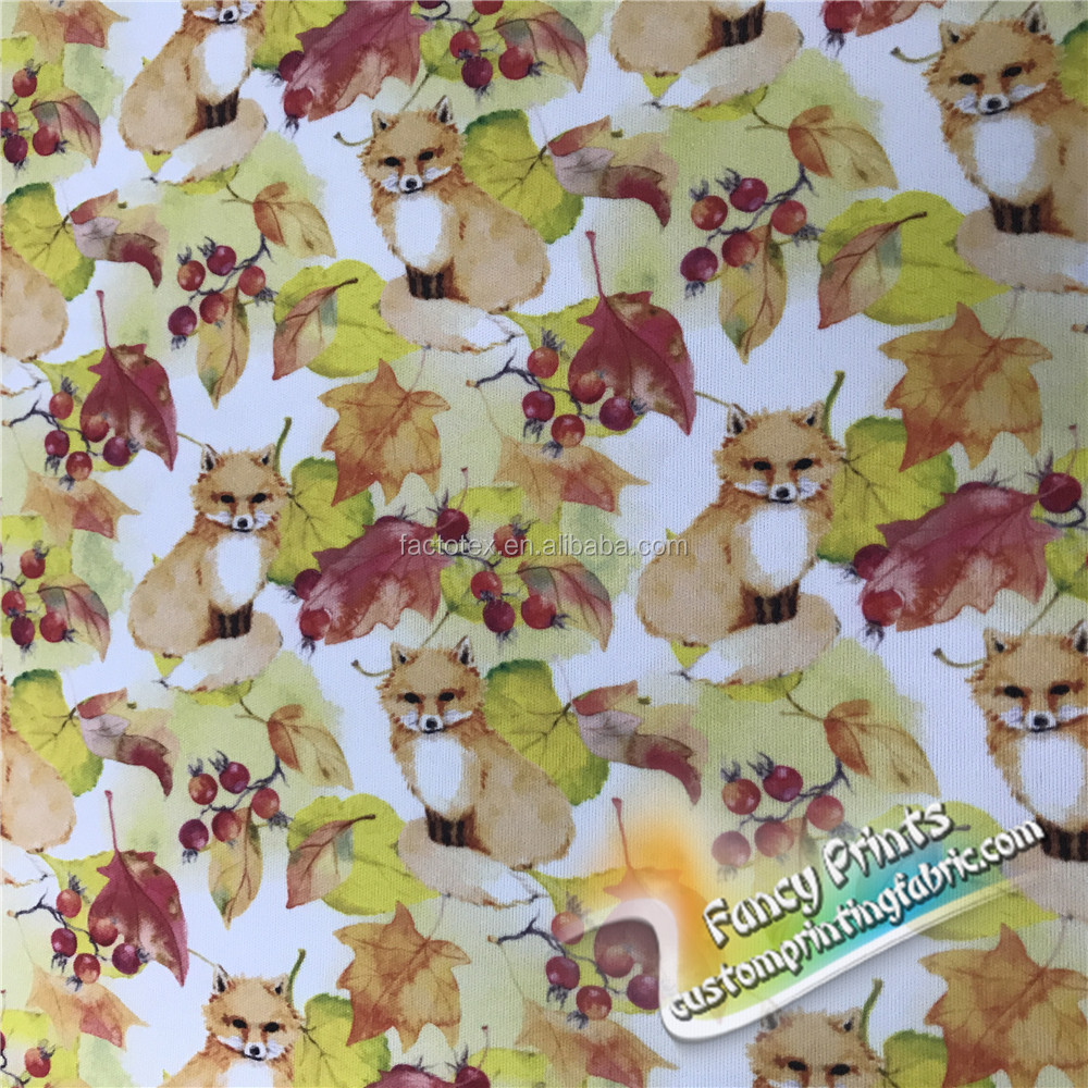 lovely fox design 100% cotton jersey fabric for kids