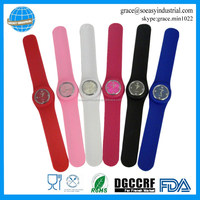 silicone slap wristband watch for mens women ladys