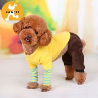 Blue and yellow pet T-shirt boy dog clothes outdoor basic wholesales