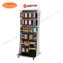 retail store mobile phone accessories display rack floor standing with hooks