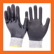 13G Fully Nitrile Double Coated Gloves with Sandy Nitrile HPPE Liner Level 5 Cut Resistant Gloves