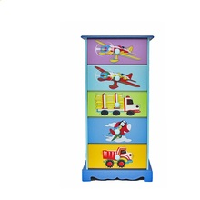 Kids <strong>Furniture</strong> Cartoon print preschool home child <strong>furniture</strong> kids wooden 5 drawer cabinet TY10065 factory supply direct
