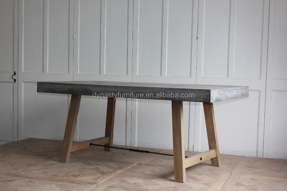 outdoor goods design wooden antique dining <strong>table</strong> with concrete top