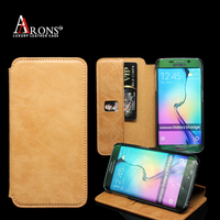 Brown leather wallet case for samsung galaxy s6 edge plus leather case