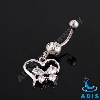 Stainless steel heart shaped dangle belly button ring