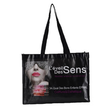 Folded Promotional Wholesale Cheap Black Laminated Shopping Non Woven Bag