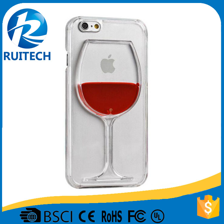 Newest Popular Wine Glass Back Case Cover 3D Liquid Phone Case For iPhone 6s Plus