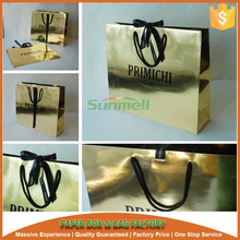 shiny gold custom luxury paper shopping bag with brand name