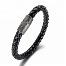 BE Magnetic Clasp Leather Mens Bracelet Wholesale