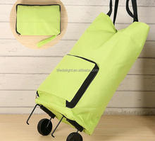 supermarket foldable shopping trolley bag with wheels, polyester lugage bag travel trolley luggage folded