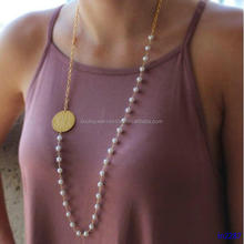 Gold Monogram Pearl Necklace Designs