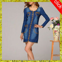 2014 top new style fashion elegant high quality wholesale long sleeve blue women/girls jeans dress