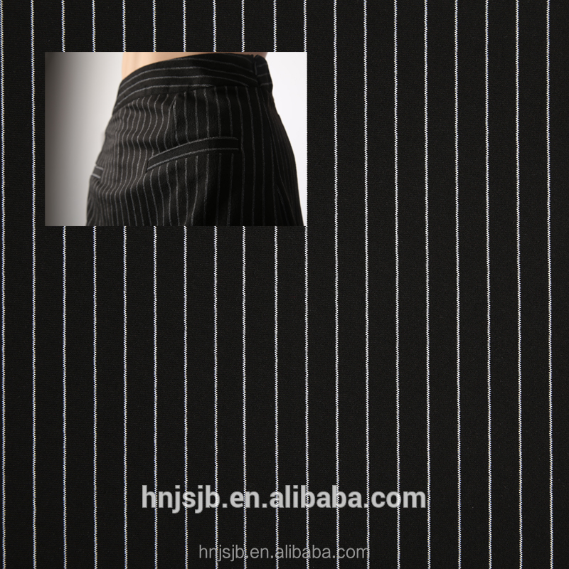 Wholesale fashion 100% polyester thermal fabric pinstripe suit fabric mens suit fabric for cloth