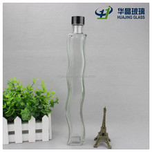 High quality 290ml Thin and tall wave shape glass wine bottle with screw cap
