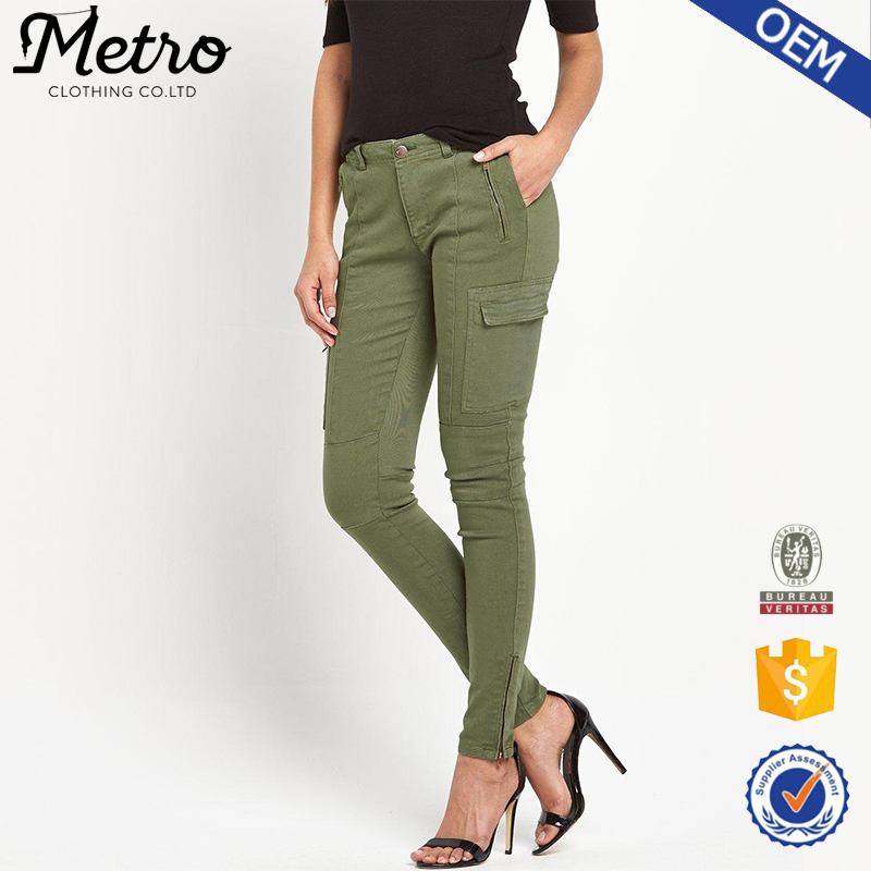 Custom Women Skinny Khaki Twill Utility Trousers Cargo Pants