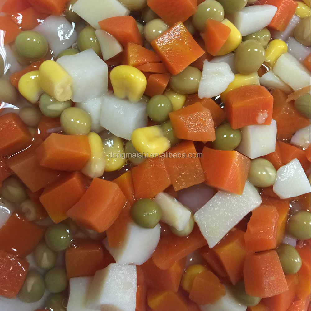 Canned mixed vegetables carrots, green peas, corn kernels, potato