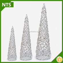 NTS White Wood Carving Christmas Tree for Decoration