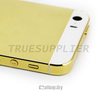 New design hot selling luxury shiny glod back cover with white glass housing for iphone 5 5s