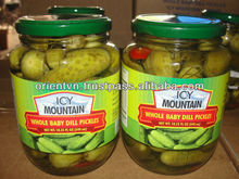 Pickled baby cucumbers.