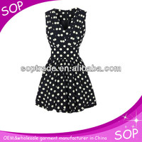 Casual style frock design for ladies polka dots v neck sleeveless