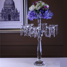 wedding crystal candelabra centerpiece and flower stand for tables