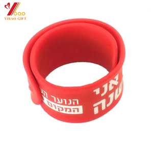China suppliers custom fashion silicone slap bracelet /slap wristband with printing logo