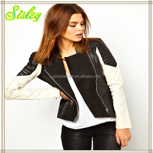 Women Jacket Ladies Jacket Canes Leather Jacket with Contrast Sleeves