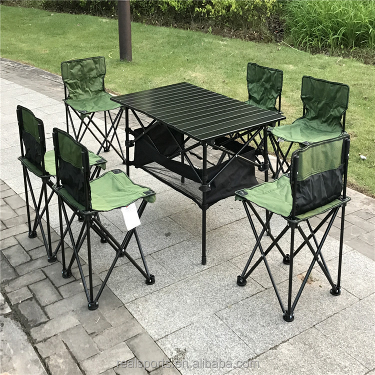 Patio Furniture Set 7-Piece Outdoor Camping Folding Table Chair Set
