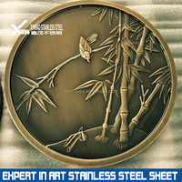 Modern abstract bronze stainless steel metal wall sculpture