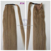 Wholesale 100% Indian Remy Wrap Around Ponytail Extension Long Drawstring Human Hair Pony tail