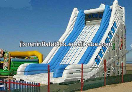 inflatable giant blue and white lawn slide