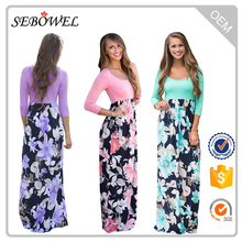 Casual 3/4 Sleeves Tank Top Boho Holiday Maxi Floral Dress