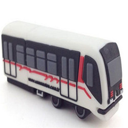 Soft pvc custom logo thumb drive bus shape advertising gadgets custom mold usb flash drive