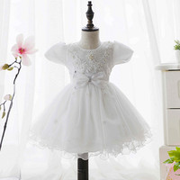 New style chiffon pearl flower princess tutu dress boutique chilld clothes for party