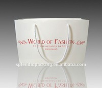 Horizontal white paper shopping bag with cotton handle