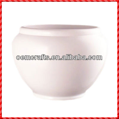 White glazed terracotta custom large oval terracotta planters
