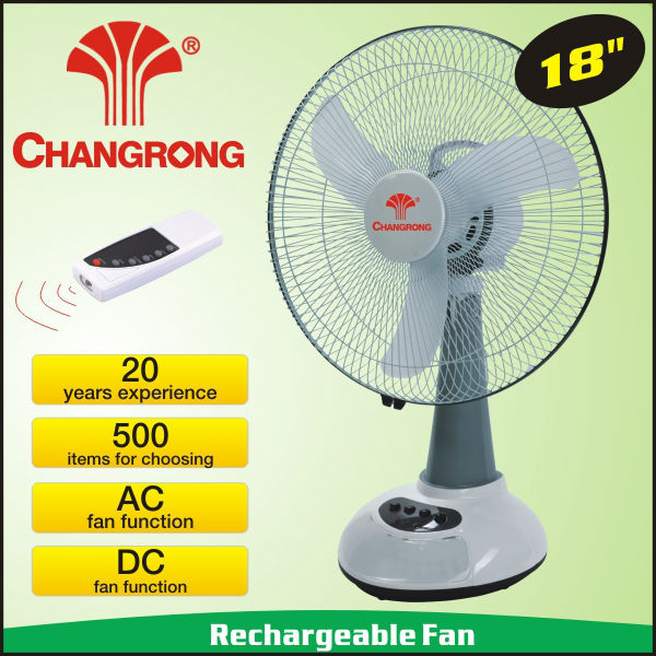 18inch large battery powered rechargeable emergency fan with led light