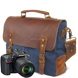 Canvas Backpack Digital Leather Camera Bag