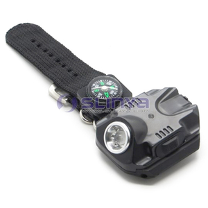 Rechargeable 18650 Battery Wrist LED Light with Compass Flashlight Outdoor Hiking LED Flashlight Torch