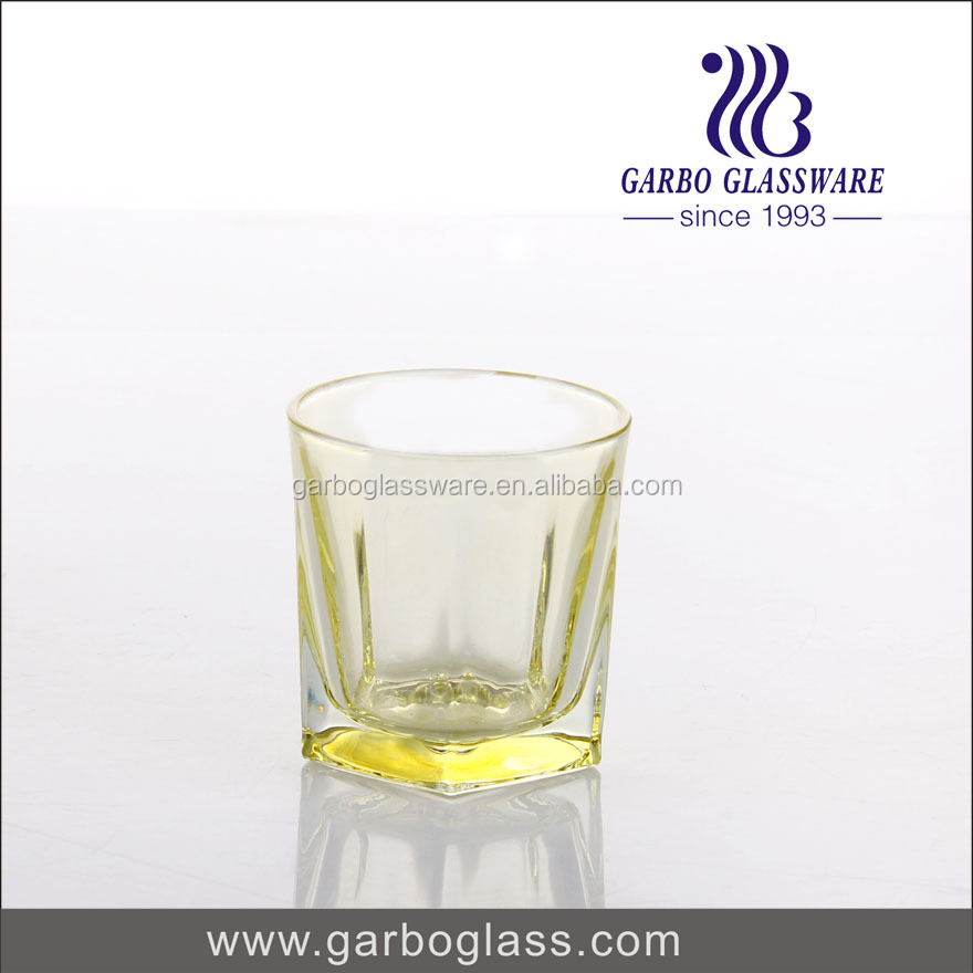 wholesale bottom spray colored machine pressed fancy restaurant glassware for home/bar/hotel
