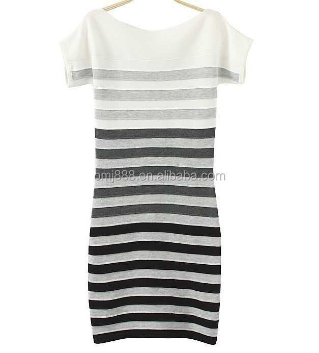 Summer Tight High Neck Boat Neck Cotton Strip Bodycon Casual Dress Korean Style Free Size black and white casual dresses