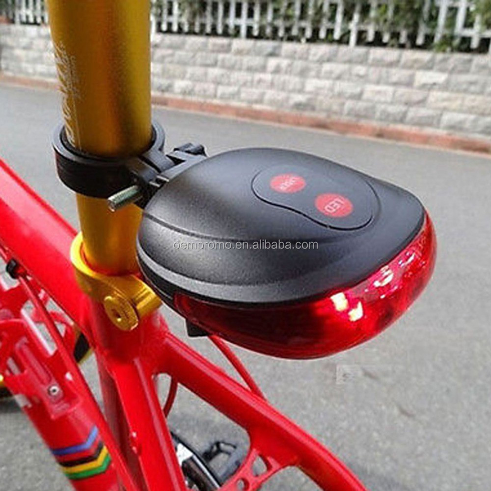 5 LED 2 Laser Bike light 7 Flash Mode Cycling Safety Bicycle Rear Lamp